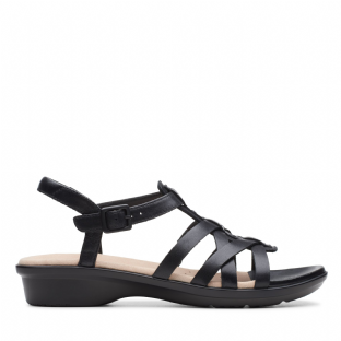 Clarks Womens Loomis Katey Black Leather Sandals
